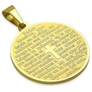 Gold Color Plated Stainless Steel The Lords Prayer